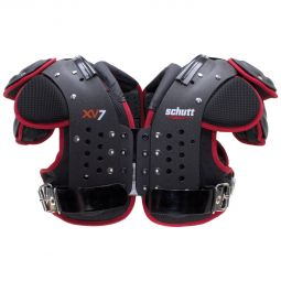 Front view of the Schutt XV7 All Purpose Football Shoulder Pads